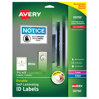 Avery 00750 Easy Align 5 inch x 7 1/2 inch White Rectangular Self-Laminating ID Labels - 5/Pack