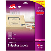 Avery 15665 8 1/2 inch x 11 inch Clear Full Sheet Shipping Labels - 10/Pack