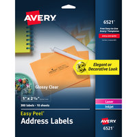 Avery 06521 Easy Peel 1 inch x 2 5/8 inch Glossy Clear Address Labels - 300/Pack