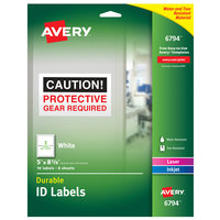 Avery 06794 5 inch x 8 1/8 inch White Rectangle Durable ID Labels - 16/Pack