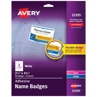 Avery 25395 2 1/3 inch x 3 3/8 inch White Rectangle Adhesive Name Badges - 80/Pack