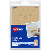 Avery 40151 1 1/8 inch x 2 1/4 inch Kraft Brown Black Border Scalloped Multi-Use Oval Label   - 24/Pack