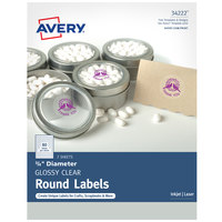 Avery 34222 3/4 inch Clear Glossy Round Print-to-the-Edge Labels - 160/Pack