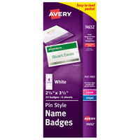 Avery 74652 3 1/2 inch x 2 1/4 inch White Landscape Printable Pin Style Name Badge with Flexible Holder - 24/Pack