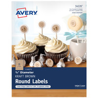 Avery 34220 3/4 inch Kraft Brown Round Print-to-the-Edge Labels - 240/Pack
