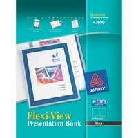 Avery 47690 Flexi-View 11 inch x 8 1/2 inch Black Polypropylene Presentation Book with Translucent View Window, Letter