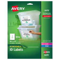 Avery 06470 8 1/2 inch x 11 inch White Rectangle Removable ID Labels - 10/Pack