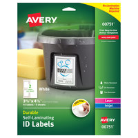 Avery 00751 Easy Align 3 1/2 inch x 4 1/2 inch White Rectangular Self-Laminating ID Labels - 10/Pack
