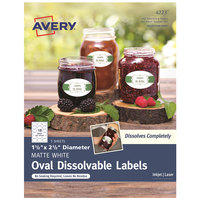 Avery 04223 1 1/2 inch x 2 1/2 inch White Oval Print-to-the-Edge Dissolvable Labels - 90/Pack
