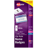 Avery 74651 3 1/2 inch x 2 1/4 inch White Landscape Printable Clip Style Name Badge with Flexible Holder - 12/Pack