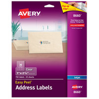 Avery 08660 Easy Peel 1 inch x 2 5/8 inch Clear Matte Address Labels - 750/Pack