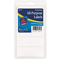 Avery 06113 1 inch x 2 3/4 inch White Rectangle All-Purpose Write-On Labels - 128/Pack