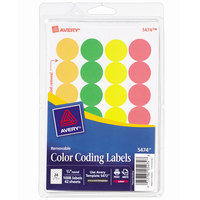Avery 05474 3/4 inch Assorted Neon Color Round Removable Write-On / Printable Labels - 1008/Pack