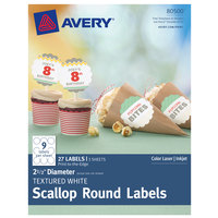 Avery 80500 2 1/2 inch Textured White Round Scallop Labels - 27/Pack