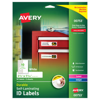 Avery 00753 Easy Align 3 1/2 inch x 1 1/32 inch White Rectangular Self-Laminating ID Labels - 50/Pack