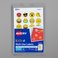 Avery 41420 3/4 inch Yellow and White Round Kids Emoji Multi-Use Labels - 288/Pack