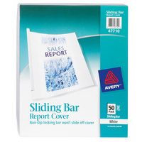Avery 47710 11 inch x 8 1/2 inch Clear Plastic Report Cover with White Sliding Bar, Letter - 50/Box