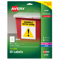 Avery 06790 8 1/2 inch x 11 inch White Full Sheet Durable ID Labels - 8/Pack