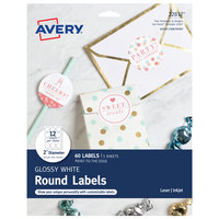 Avery 22817 2 inch White Glossy Round Print-to-the-Edge Labels - 60/Pack