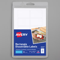 Avery 04225 1 inch x 1 1/2 inch White Rectangle Dissolvable Labels - 50/Pack