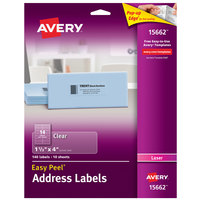 Avery 15662 Easy Peel 1 1/3 inch x 4 inch Clear Laser Printer Address Labels - 140/Pack