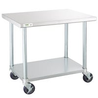 Regency 24 inch x 36 inch 18-Gauge 304 Stainless Steel Commercial Work Table with Galvanized Legs, Undershelf, and Casters
