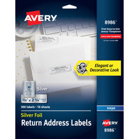 Avery 08986 3/4 inch x 2 1/4 inch Silver Rectangle Foil Return Address Labels - 300/Pack