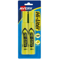 Avery 24081 Hi-Liter® Fluorescent Yellow Chisel Tip Desk Style Highlighter - 2/Pack