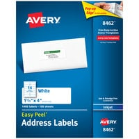 Avery 08462 Easy Peel 1 1/3 inch x 4 inch White Mailing Address Labels - 1400/Box