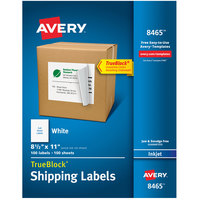 Avery 08465 TrueBlock 8 1/2 inch x 11 inch White Full Sheet Shipping Labels - 100/Box