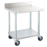 Regency 24 inch x 30 inch 18-Gauge 304 Stainless Steel Commercial Work Table with 4 inch Backsplash, Undershelf and Casters