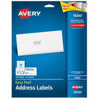 Avery 18260 Easy Peel 1 inch x 2 5/8 inch White Sure Feed Address Labels - 750/Pack