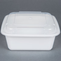 Newspring NC-636 36 oz. White 6 3/4 inch x 6 3/4 inch x 2 5/8 inch VERSAtainer Square Microwavable Container with Lid - 150/Case