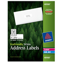 Avery 48160 Eco-Friendly 1 inch x 2 5/8 inch White Rectangle Address Labels - 750/Pack