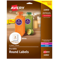 Avery 22856 2 1/2 inch White Round Labels - 72/Pack