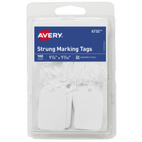 Avery 6732 1 3/4 inch x 1 3/32 inch White Strung Marking Tag - 100/Pack