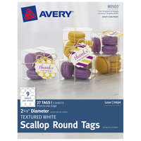 Avery 80503 2 1/2 inch White Textured Scallop Edge Printable Round Tag - 27/Pack