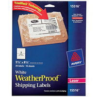 Avery 15516 TrueBlock WeatherProof 5 1/2 inch x 8 1/2 inch White Permanent Laser Mailing Label - 20/Pack