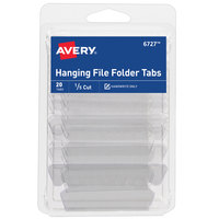 Avery 06727 2 inch Matte Clear 1/5 Cut Plastic Insertable Hanging File Folder Tab - 20/Pack