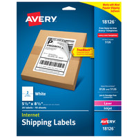 Avery 18126 TrueBlock 5 1/2 inch x 8 1/2 inch Internet Shipping Labels   - 20/Pack