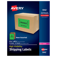 Avery 05942 5 1/2 inch x 8 1/2 inch High Visibility Assorted Neon Color Shipping Labels - 50/Pack