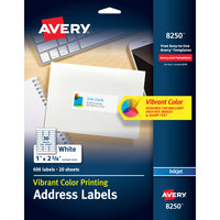 Avery 08250 1 inch x 2 5/8 inch Matte White Rectangle Color Printing Labels - 600/Pack