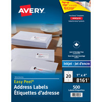 Avery 08161 Easy Peel 1 inch x 4 inch White Mailing Address Labels - 500/Pack