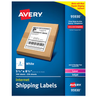 Avery 95930 5 1/2 inch x 8 1/2 inch White Permanent Printable Bulk Shipping Label - 500/Box