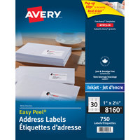Avery 08160 Easy Peel 1 inch x 2 5/8 inch White Mailing Address Labels - 750/Pack