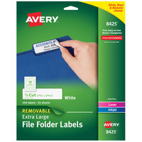 Avery 08425 15/16 inch x 3 7/16 inch White Rectangle 1/3 Cut Extra-Large File Folder Labels - 450/Pack