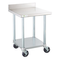 Regency 24 inch x 24 inch 18-Gauge 304 Stainless Steel Commercial Work Table with 4 inch Backsplash, Galvanized Legs, Undershelf, and Casters