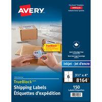 Avery 08164 TrueBlock 3 1/3 inch x 4 inch White Permanent Inkjet Shipping Label - 150/Pack