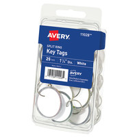 Avery 11028 1 1/4 inch White Paper with Metal Rim Split Ring Key Tag - 25/Pack