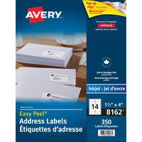 Avery 08162 Easy Peel 1 1/3 inch x 4 inch White Mailing Address Labels - 350/Pack